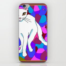 Pretty White Kitty in the Window - Stained Window iPhone Skin