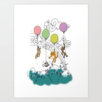balloons Art Prints featuring Balloons by Lorene R illustration