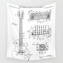 Gibson Guitar Patent - Les Paul Guitar Art - Black And White Wall Tapestry