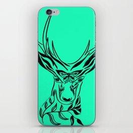 Aqua Deer, deer head with antlers, drawing of a deer head iPhone Skin