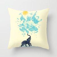 splash Throw Pillows featuring summer splash by Steven Toang