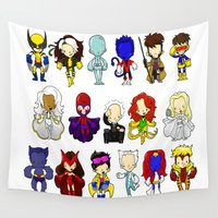 x men Wall Tapestries featuring X MEN GROUP by Space Bat designs