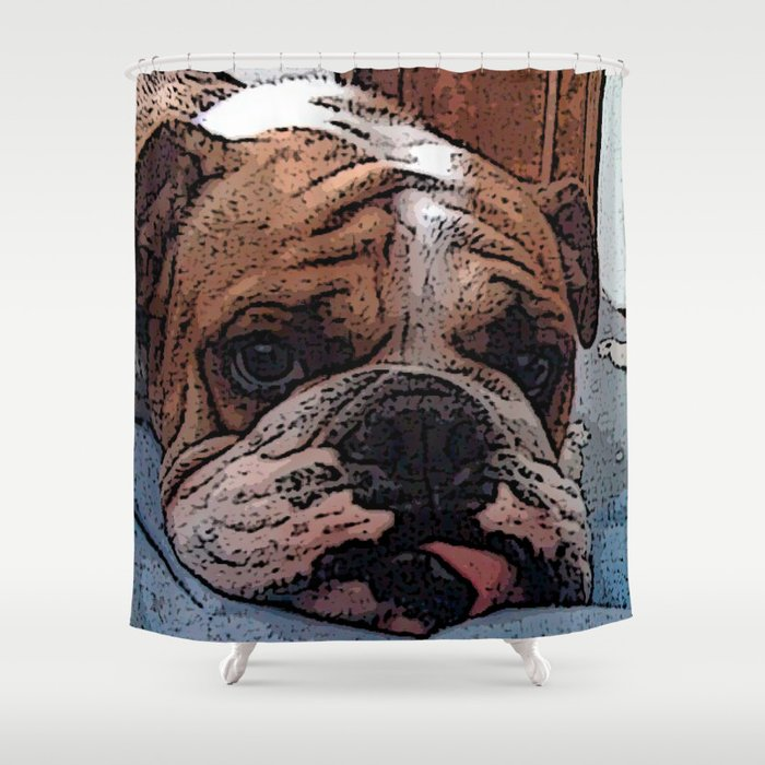 English Bulldog Shower Curtain By Kargarvi