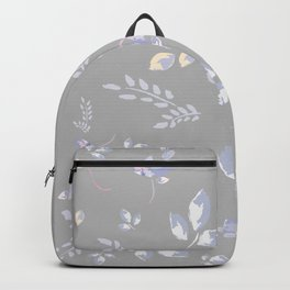 Spring colors watercolor leaves & tulips on light grey background Backpack