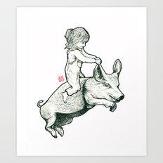 Girl on a flying pig Art Print