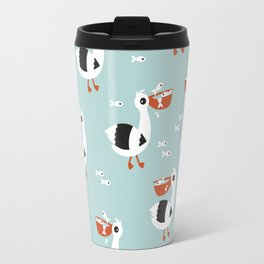 Sweet pelican birds fish friends illustration pattern design blue Travel Mug
