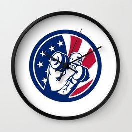 American Gym Circuit USA Flag Icon Wall Clock