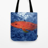 trout Tote Bags featuring Coral Trout by Serenity Photography