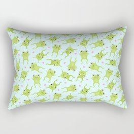 Kawaii Happy Frogs on Blue Rectangular Pillow