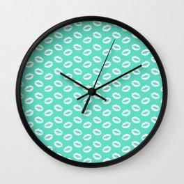 Tiffany Aqua Blue with White Lipstick Kisses Wall Clock