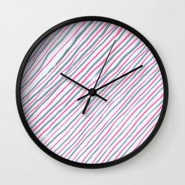 Hand drawn grey and pink diagonal striped pattern Wall Clock