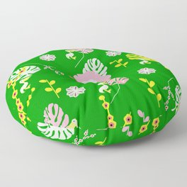 Flowers, leaves and ... pelicans Floor Pillow