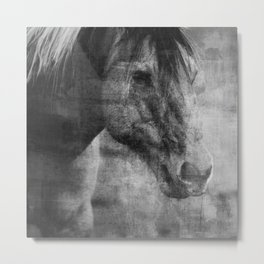 Abstract Horse No 1 | Black + White Metal Print