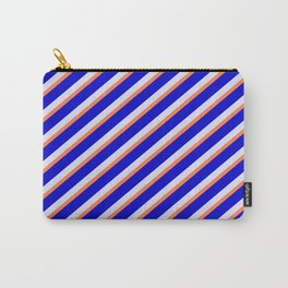 Lavender, Coral & Blue Colored Stripes/Lines Pattern Carry-All Pouch