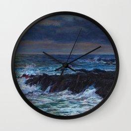 Emerald, Pink, & Red Coastal Waves Crashing at Sunset - Impressionist Oil seascape maritime painting by Vartan Makhokhian Wall Clock