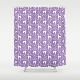 Golden Doodle dog silhouette floral dog breed gifts Shower Curtain