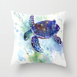 Happy Sea Turtle, aquatic marine blue purple turtle illustration Throw Pillow
