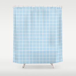 Columbia Blue - heavenly color - White Lines Grid Pattern Shower Curtain
