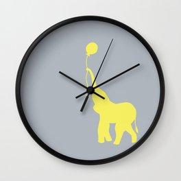Elephant with Balloon - Lemon Wall Clock