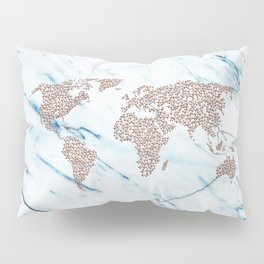 Rosegold Stars on Blue Marble World Map Pillow Sham