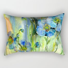 Blue Anemone Flowers Rectangular Pillow