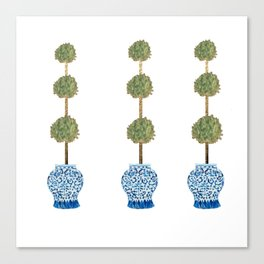 Three Hand Painted Topiary Topiaries  Canvas Print