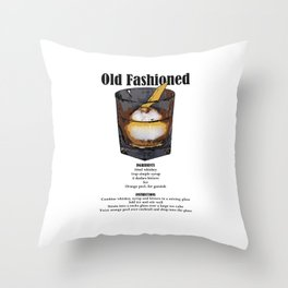Old Fashioned - Classic Cocktail Recipe Throw Pillow