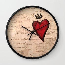 French Script Heart Wall Clock