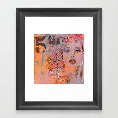Wild Woman modern face mixed media art Framed Art Print