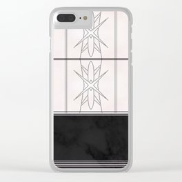 Modern Abstract Pattern over black marble Clear iPhone Case