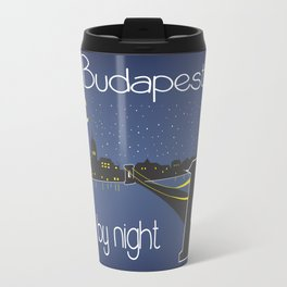 Budapest by night, poster, squared design Travel Mug