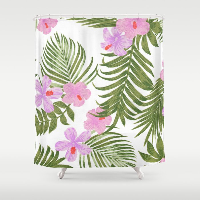 Modern Pink Green Palm Tree Tropical Floral Shower Curtain
