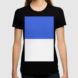 White and Royal Blue Horizontal Halves T-shirt