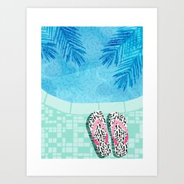 Go Time - resort palm springs poolside oasis swimming athlete vacation topical island summer fun Art Print
