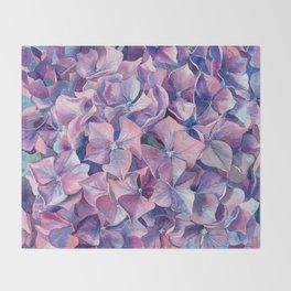 Violet hydrangea Throw Blanket