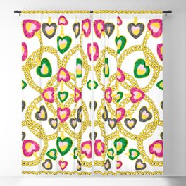 Jewelry Pattern with Gold Chains Blackout Curtain