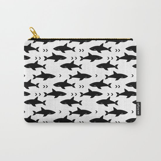 Sharks - shark week trendy black and white minimal kids pattern print Carry-All Pouch