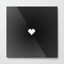 Pixel Love (white square heart on black) Metal Print