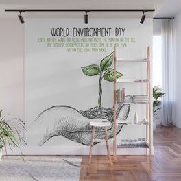 Realistic sketch hand with a plant background Wall Mural