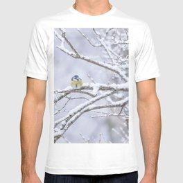 Blue Tit On A Snowy Branch Winter Scene #decor #society6 T-shirt