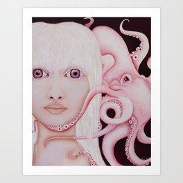 Albino Squid Art Print