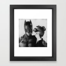 BAT AND CAT b&w Framed Art Print