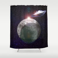 ufo Shower Curtains featuring UFO Planet by MaNia Creations