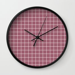 Rose Dust - violet color - White Lines Grid Pattern Wall Clock