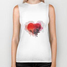 Watercolor heart Biker Tank