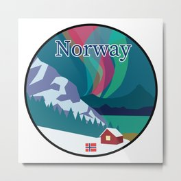 Norway Mountain and Fjordside Badge Featuring Northern Lights Metal Print