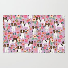 Papillon pet friendly small cute dog breed must have gift for dog lover florals dog pattern print Rug