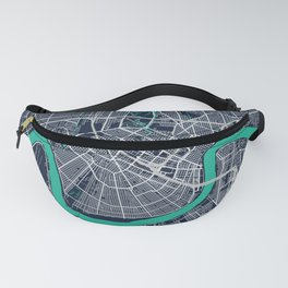 New Orleans Blue Dark Color City Map Fanny Pack