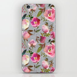 Gray blush pink coral yellow hand painted floral iPhone Skin