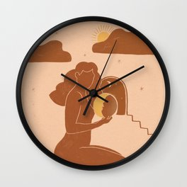 Holding The sun Wall Clock